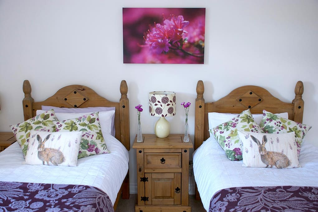 Bright contemporary decor with artwork by your hosts