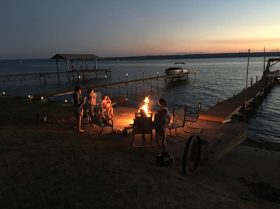 Fire Pit by old dock.  New dock being built June.