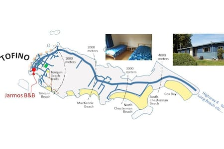 NW ROOM - 1 Double or 2 Single beds  (Your choice) - Tofino - 住宿加早餐