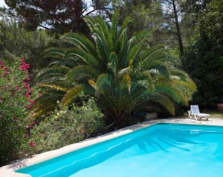 Apartment with one bedroom in Le Beausset, with wonderful sea view, shared pool, enclosed garden - 8 km from the beach