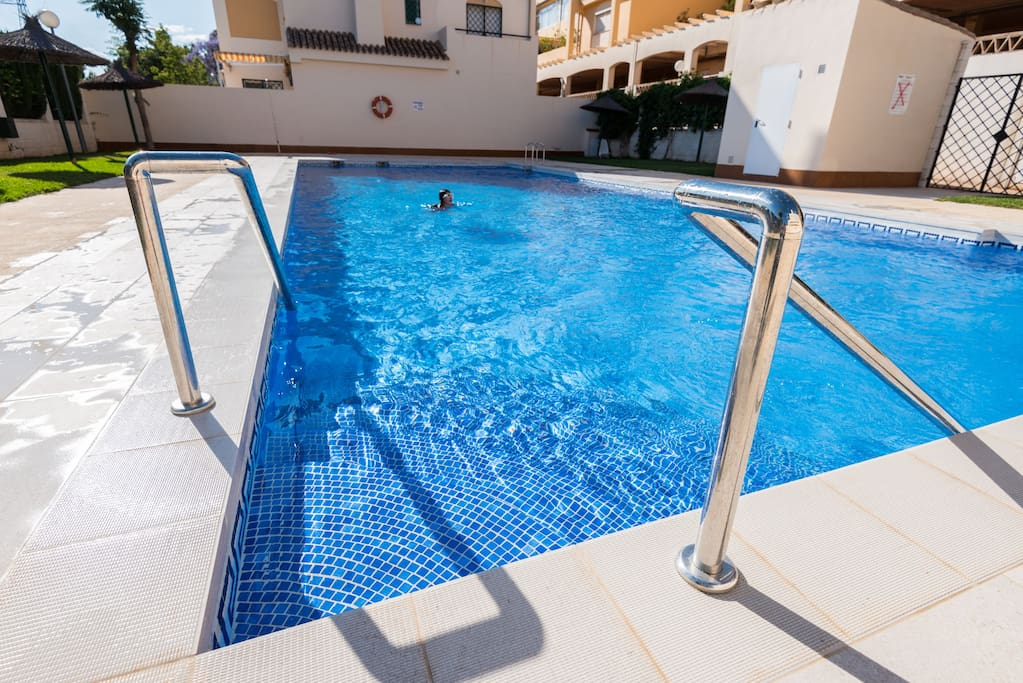 Cool off in the large community saltwater pool