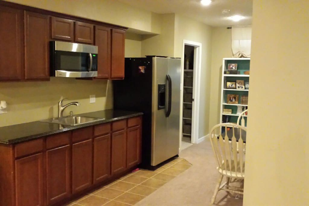 Mini Kitchen with full size fridge, microwave and sink