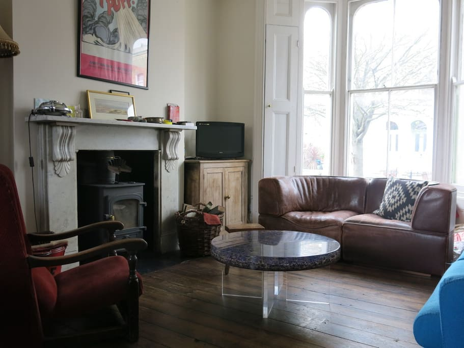 Sitting Room with wood burning stove, TV