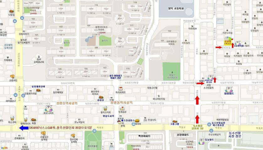 도로명주소는 덕암로97번길 9-3 이며 구주소는 봉명동 2591-1 입니다.봉명동 농수산물시장 버스정류장에서 하차후 걸어서 3분거리에 숙소가 있습니다.