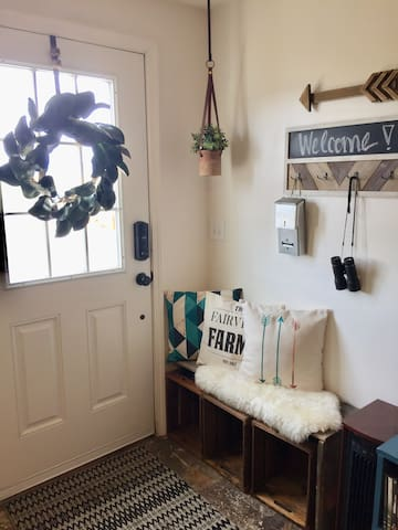 Front door and Entry/shoe bench