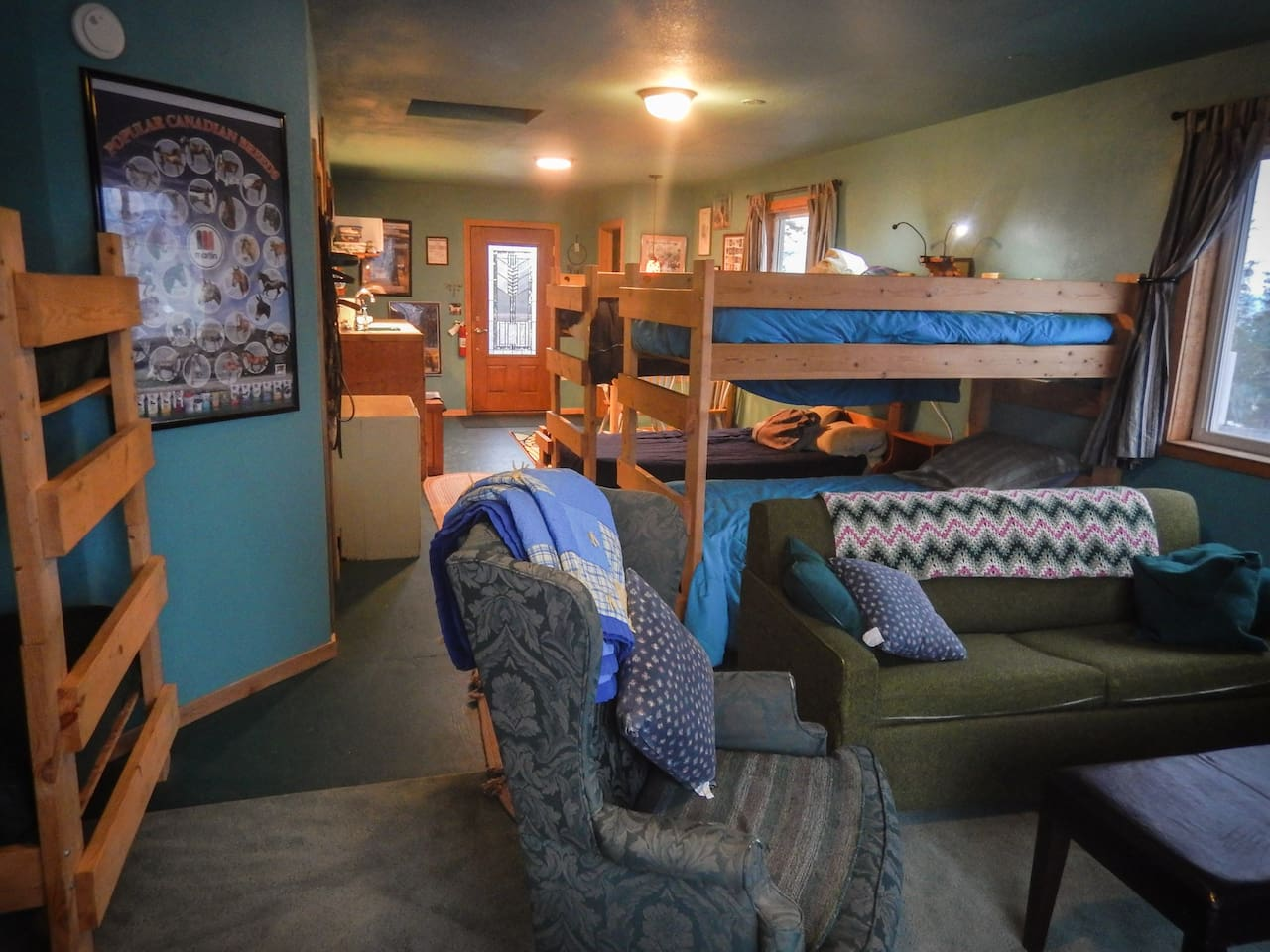 Bunks, lounge area, and kitchenette