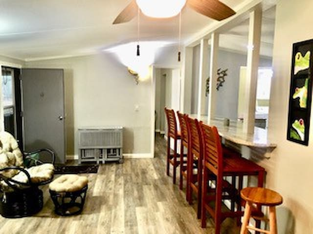 Living room/bar area, comfy and cozy.
