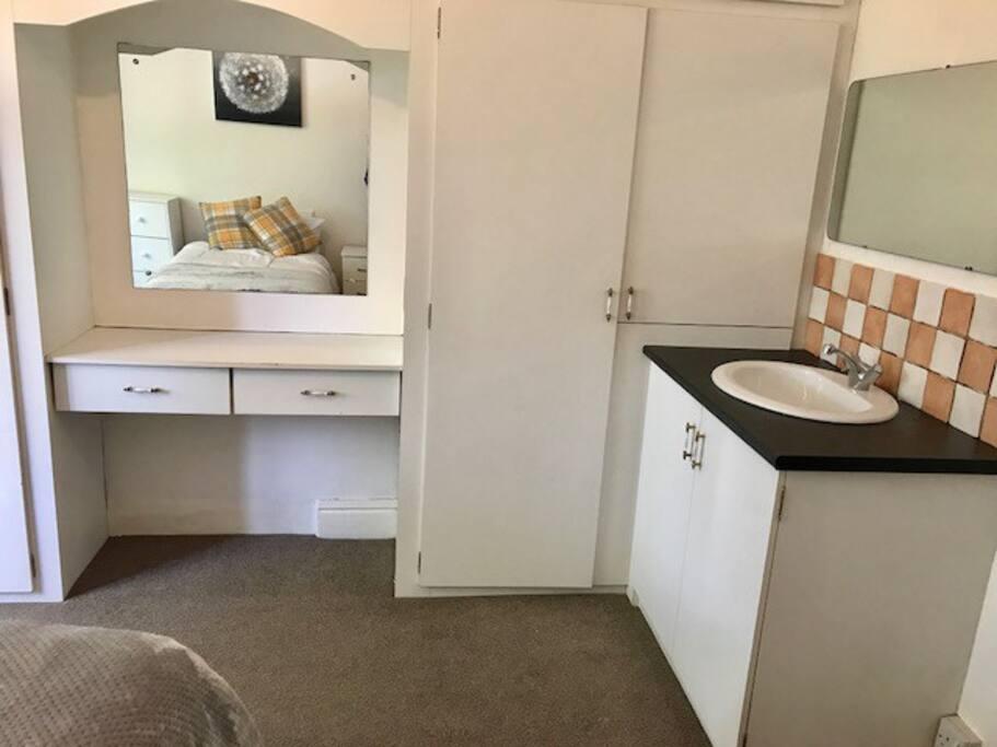 Vanity basin in the room