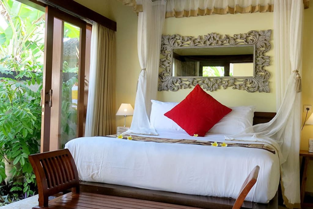 A view of the bedroom at Villa Maya. Both bedrooms have king size beds