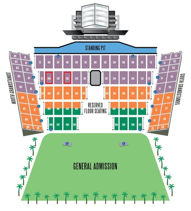 6 Desert Trip Concert Tickets available w/Condo - 3 Day Passes Section 205, Seats 1-6
