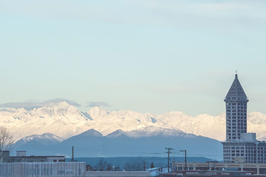 View of the Olympic mountains from the roof deck