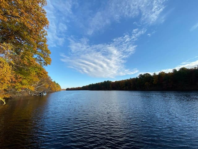 View of the Merrimack River facing North in the Fall.
