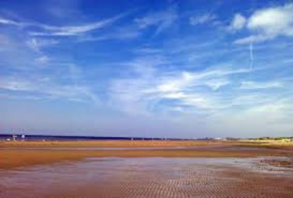 my private beach at low tide showing sand bars on a beautiful sunny summer day
