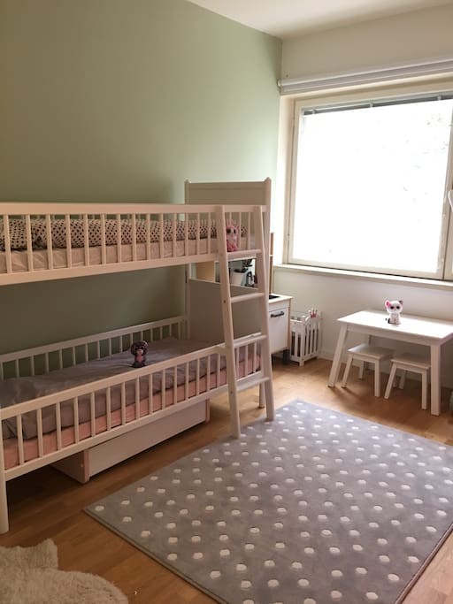 2nd bedroom with two 170cmx70cm beds. Perfect for kids. Feel free to play with toys too!