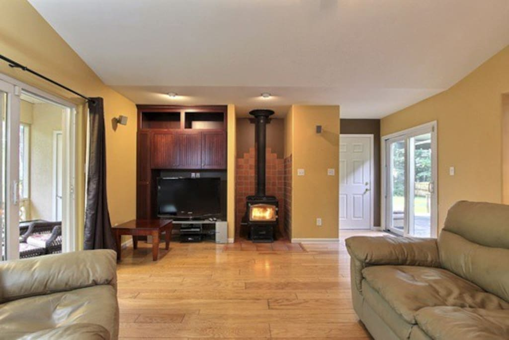 Cozy wood burning stove in the family room