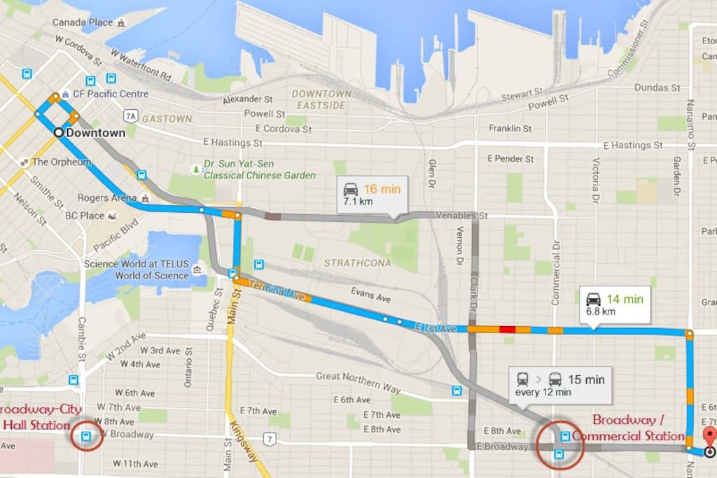 Centrally located and easy public transportation access