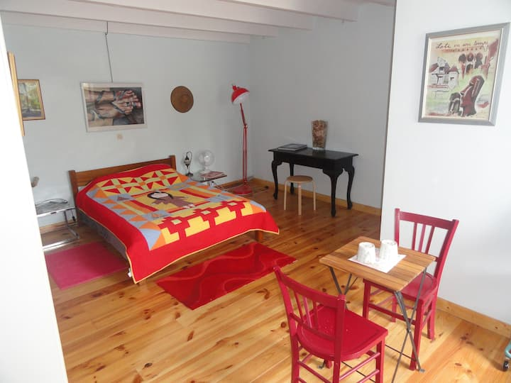 Spacious double bedroom and private bathroom.