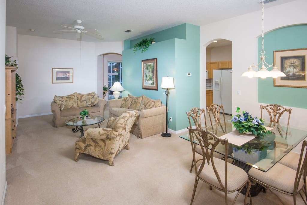 Living Room Area & Dining Room Seats 4