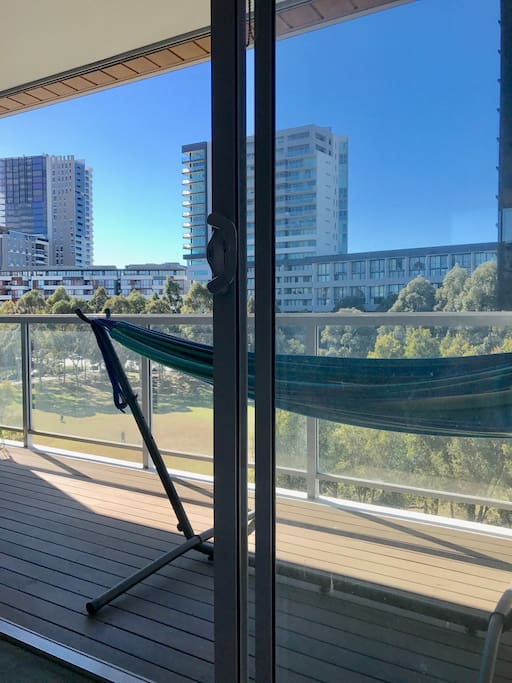 Enjoy laying in the hammock on your private balcony