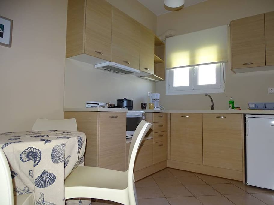 Δίκλινο στούντιο με κουζίνα και μπάνιο.
