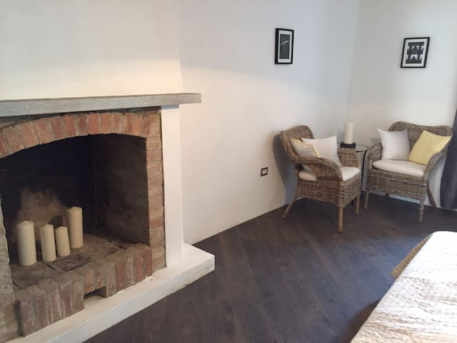 Ground floor bedroom with a fireplace