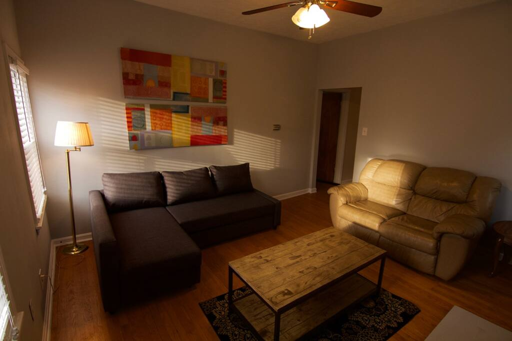Comfortable, spacious living room.