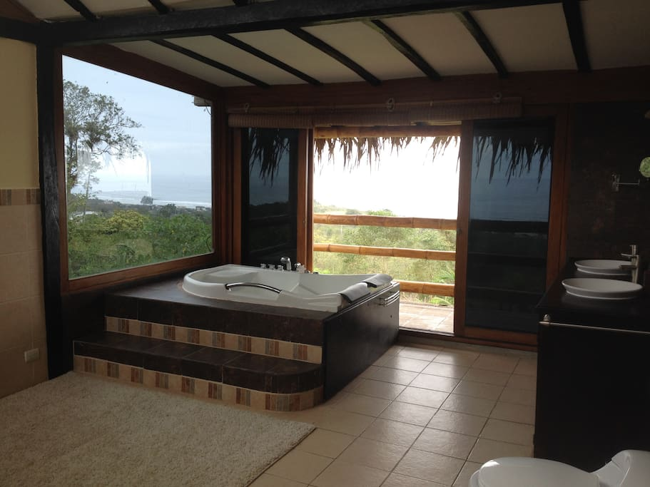 Master Bathroom in indoor hot tub and xtra large stand up shower. All ocean View!