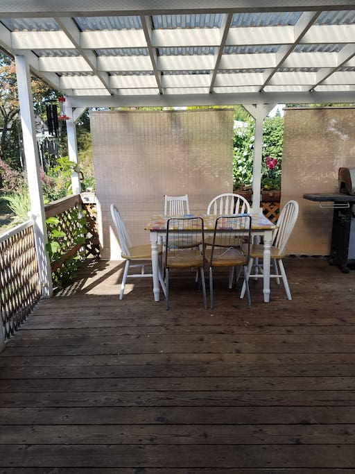 Covered back deck with table, chairs, grill and a full-size fridge.