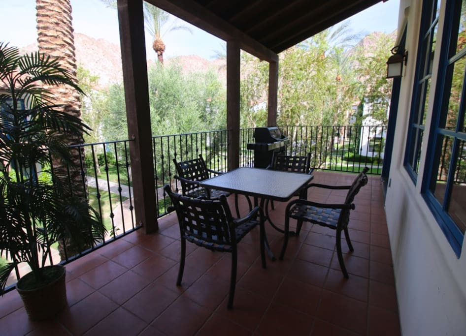 Views of Legacy Villas' beautiful grounds and mountains while dining on the balcony!