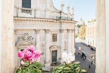 la vista dalla camera da letto verso la cupola di San Pietro