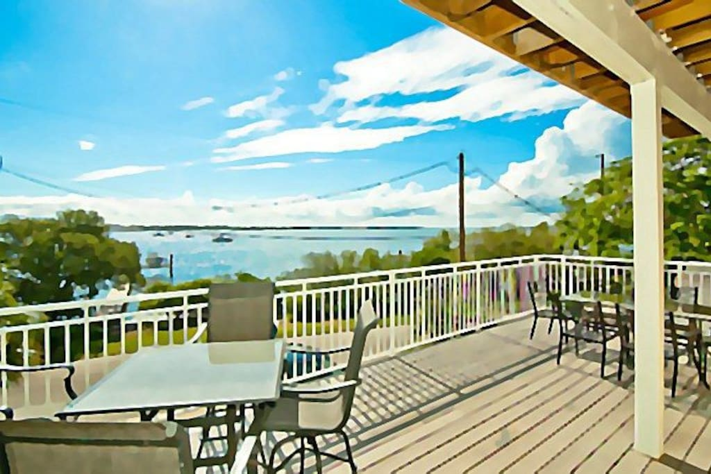 Deck off the living & kitchen overlooking Sarasota Bay