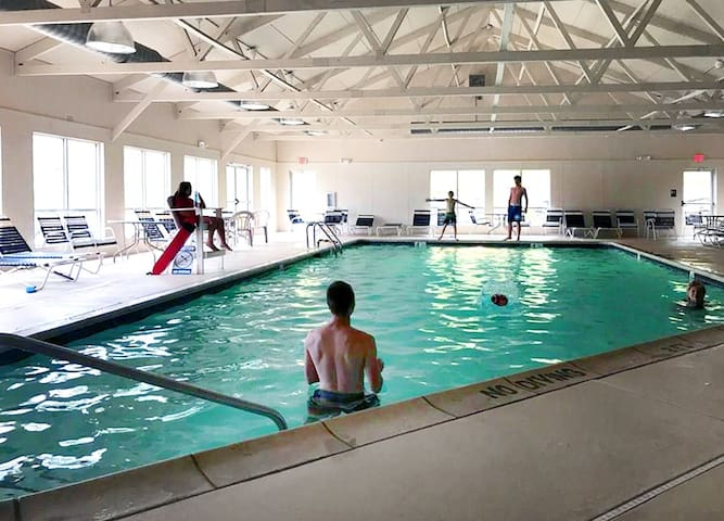 Private neighborhood indoor pools, hot tubs, gyms, and tennis courts!