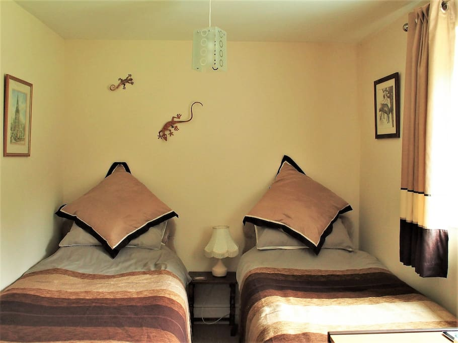 2 comfortable single beds