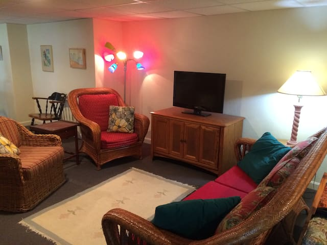 sitting area with HD TV