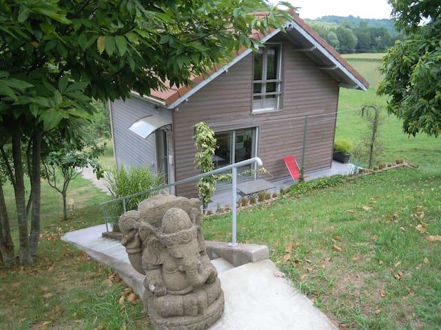 Jolie maison en bois avec terrasse