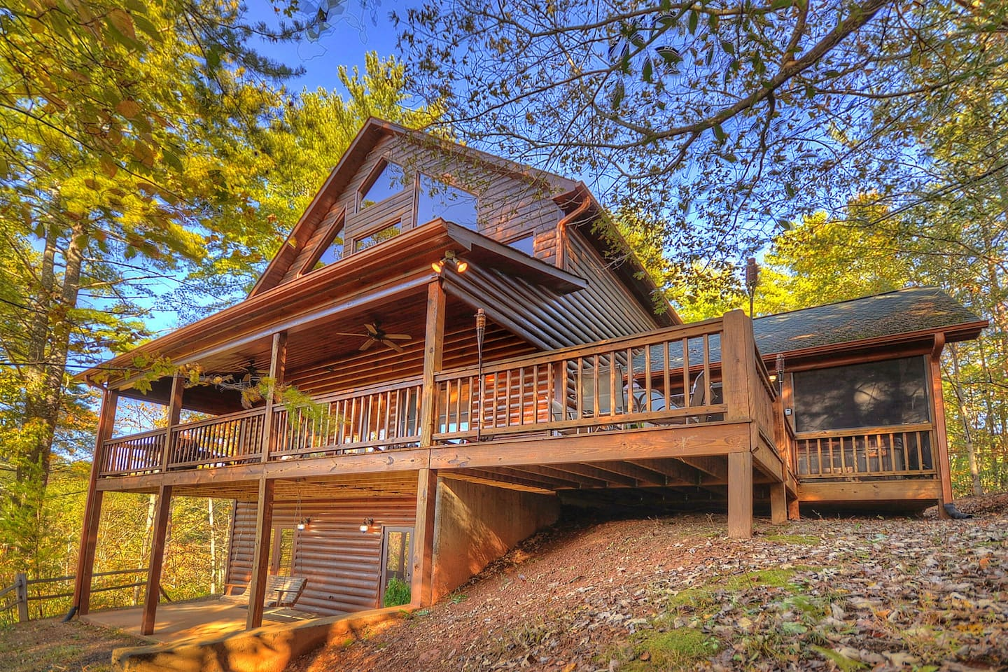Rear View of Cabin   Offering mountain views on all three levels