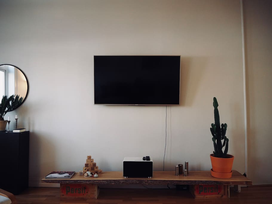 Tv and sound system.