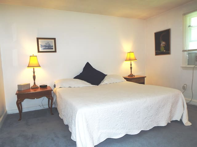 King bed in large room with big closet in BR1