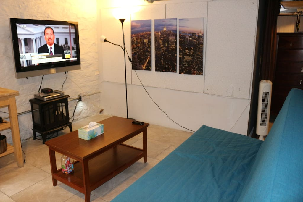 3rd bed/sofa by Ikea, large screen tv, and infrared fireplace heater