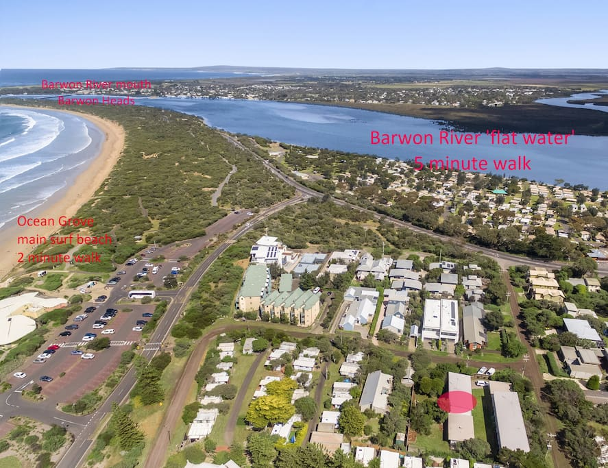 Aerial photo showing Alice's Palace relative to Barwon River 'flat water', a 5 minute walk. And the main surf beach on the left, a 2 minute walk