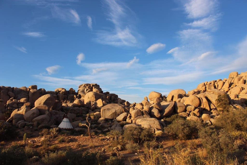Tipi is nestled around enormous monzogranite boulders.