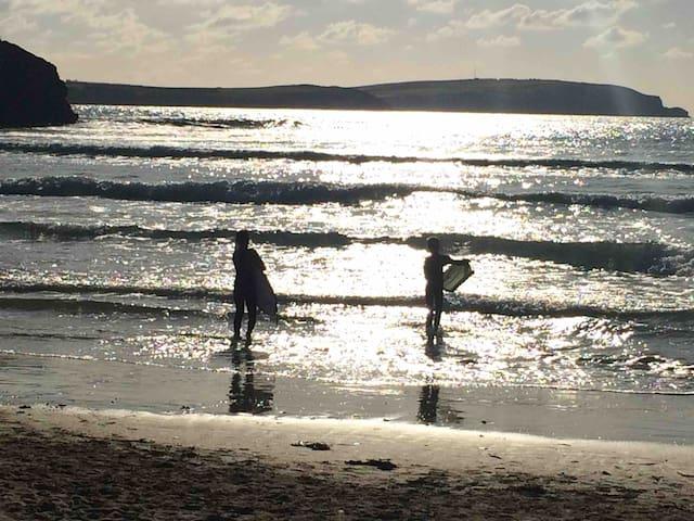 Enjoying an evening dip at Trevone Bay!