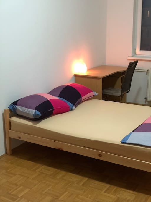 A spacious bed