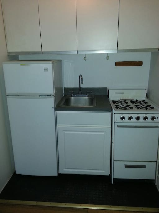 Private kitchenette has fridge,stove,microwave,dishes,pots,panscoffee maker,utensils