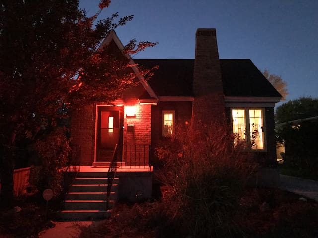 Front of the house, cold Fall night