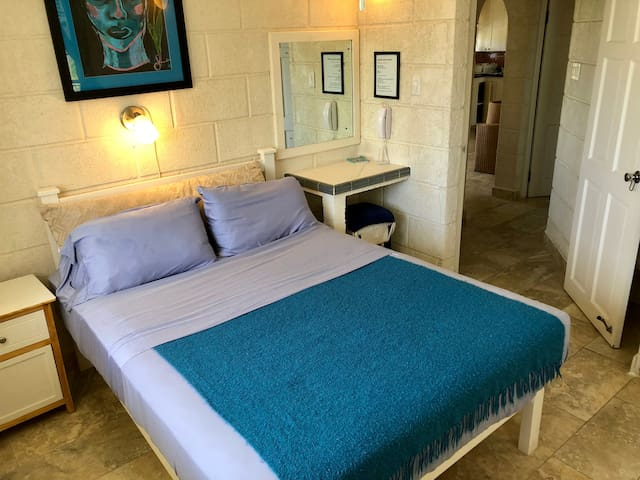 Ground floor ocean view bedroom with the queen size, orthopedic, firm, spring mattress.