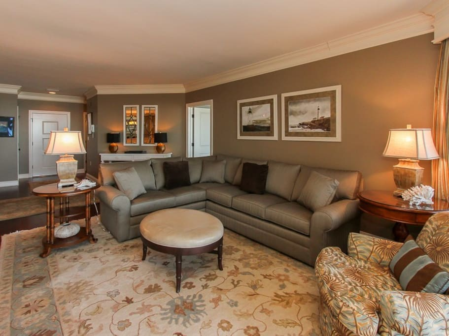 Living Room with Balcony Access at 302 Turtle Lane Club