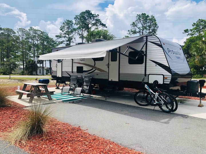 Comfort camper RV for your relaxing at the nature