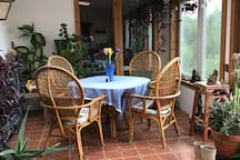 Sunroom with dining table