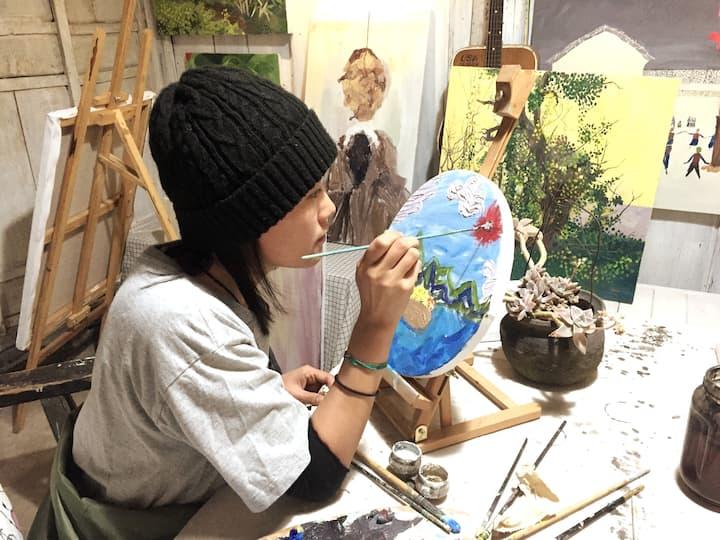 七的油画体验课和她的作品